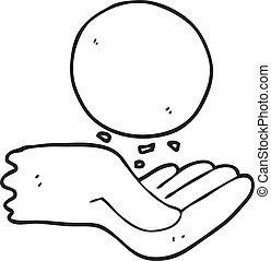 black and white cartoon hand throwing ball - freehand drawn...