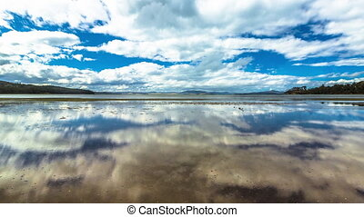 Tasmania Sky and Sea - Wild landscapes with clouds reflected...