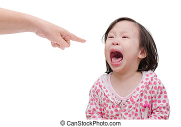Asian baby crying while mother scolding on white background