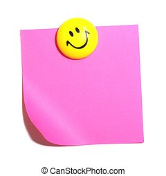 smiley face and blank paper with copyspace for your text...