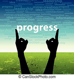 progress word in hand
