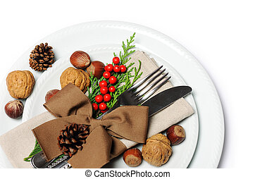 Christmas place setting - Plate and silverware with...