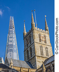 Southwark Cathedral and the Shard - Southwark Cathedral with...