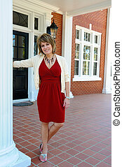 Attractive Woman on Porch - Attractive Woman on the Porch of...