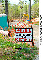 Construction Zone - Caution - Construction Zone Sign in...