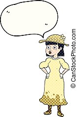 comic book speech bubble cartoon woman in muddy dress -...