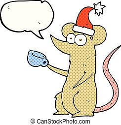 comic book speech bubble cartoon mouse wearing christmas hat...