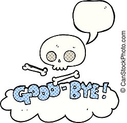 comic book speech bubble cartoon good-bye symbol - freehand...