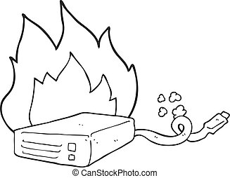 black and white cartoon computer hard drive burning -...