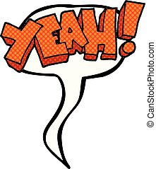 yeah! comic book speech bubble cartoon shout - yeah!...