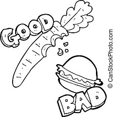 black and white cartoon good and bad food - freehand drawn...