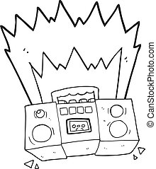 black and white cartoon boom box - freehand drawn black and...