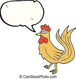 comic book speech bubble cartoon cock - freehand drawn comic...
