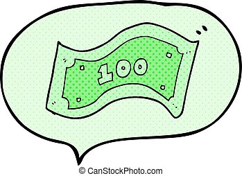 comic book speech bubble cartoon 100 dollar bill - freehand...