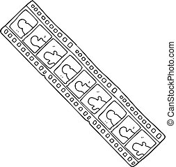 black and white cartoon film strip - freehand drawn black...