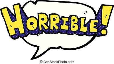 comic book speech bubble cartoon word horrible