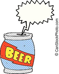 comic book speech bubble cartoon beer can - freehand drawn...