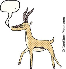 comic book speech bubble cartoon gazelle - freehand drawn...