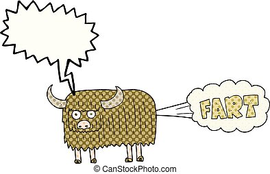 comic book speech bubble cartoon hairy cow farting -...