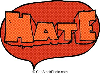 comic book speech bubble cartoon word Hate - freehand drawn...