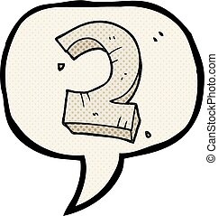 comic book speech bubble cartoon stone number two - freehand...