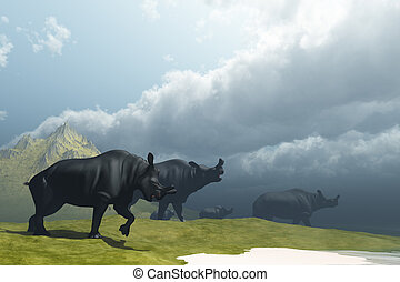 PREHISTORIC FOG - A herd of Brontotherium dinosaurs come to...
