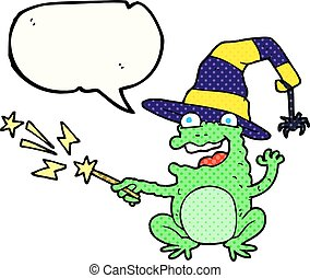 comic book speech bubble cartoon toad casting spell -...