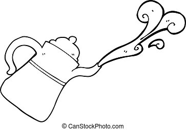 black and white cartoon coffee pot pouring - freehand drawn...