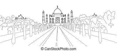 Taj Mahal Hand Drawn Ouline Vector Artwork