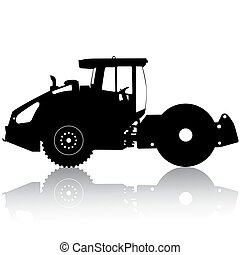 Silhouette of a road roller Vector illustration