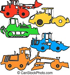 Set color silhouettes road construction equipment Vector...