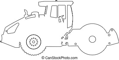 Silhouette of a road roller. Vector illustration.
