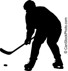 silhouette of hockey player. Isolated on white. Vector...