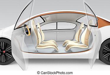 Autonomous car interior concept - Side view of autonomous...