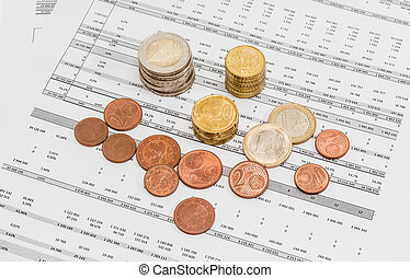 Euro coins different denominations on the data table -...