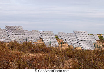 Field of photovoltaic solar panels gathering energy.