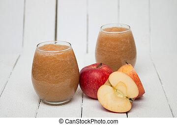 Fresh apple juice isolated on a white background - Fresh...