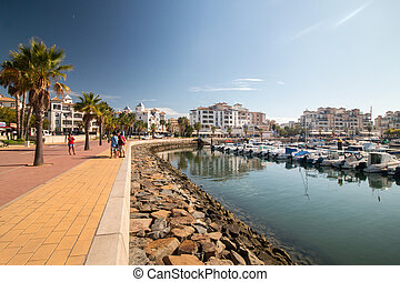 Marina view in Punta del Moral, Spain. - Wide view of the...