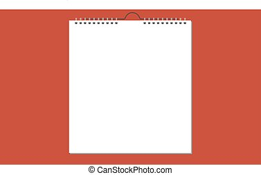 Blank wall calendar with spring, card design. Vector