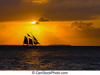 Sailing Schooner Sunset - Sailing Schooner at Sunset, Key...
