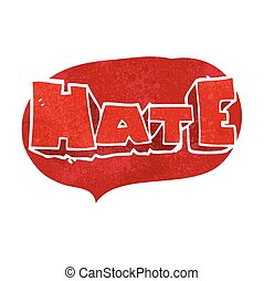 retro speech bubble cartoon word Hate - freehand drawn retro...