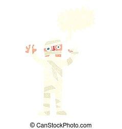 retro speech bubble cartoon bandaged mummy - freehand drawn...