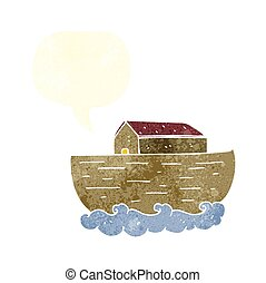 retro speech bubble cartoon noah's ark - freehand drawn...