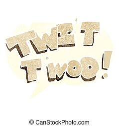 retro speech bubble cartoon twit two owl call text