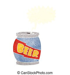 retro speech bubble cartoon beer can - freehand drawn retro...