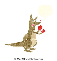 retro speech bubble cartoon boxing kangaroo - freehand drawn...