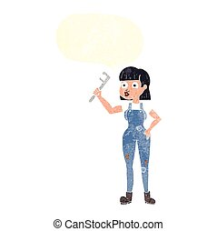 retro speech bubble cartoon female plumber - freehand drawn...