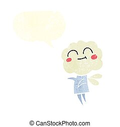 retro speech bubble cartoon cute cloud head imp - freehand...