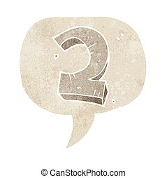 retro speech bubble cartoon stone number two - freehand...