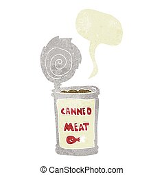 retro speech bubble cartoon canned meat - freehand drawn...